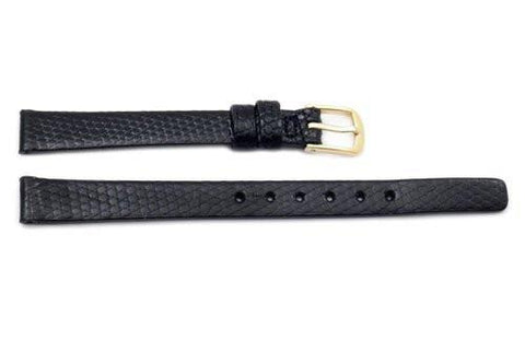 Seiko Black Genuine Lizard Leather 10mm Watch Strap