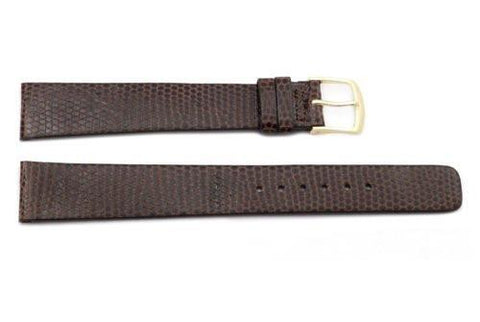 Seiko Dark Brown Genuine Textured Leather Lizard Grain 18mm Long Watch Strap