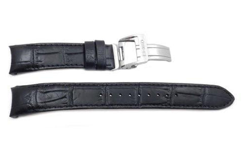 Seiko Black Genuine Textured Leather Crocodile Grain Deployment Clasp 20mm Watch Band