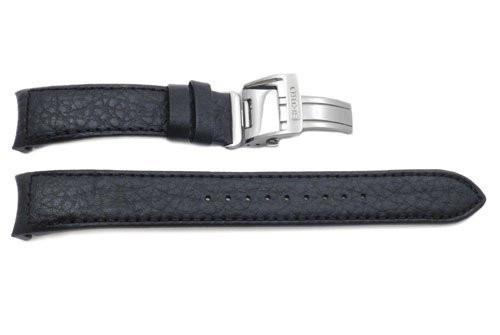 Seiko Black Genuine Textured Leather Deployment Clasp 20mm Watch Band