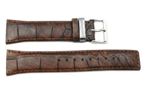 Kenneth Cole Genuine Textured Leather Brown Crocodile Grain 24mm Watch Strap