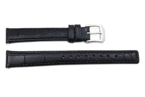Kenneth Cole Genuine Textured Leather Black Crocodile Grain Square Tip 14mm Watch Band