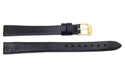 Movado Genuine Black Lizard Leather Long 12mm Watch Strap