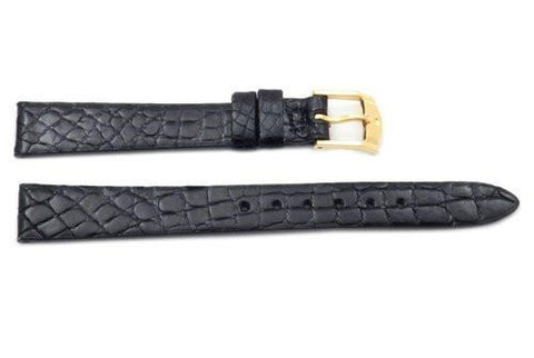 Movado Genuine Crocodile Leather Black 12mm Watch Band