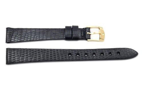 Movado Genuine Black Lizard Leather 13mm Watch Strap