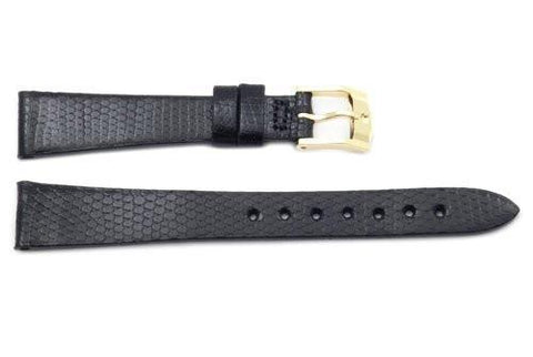 Movado Genuine Black Lizard Leather 14mm Short Watch Strap