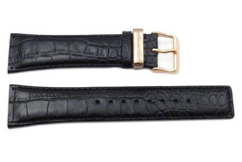 Kenneth Cole Genuine Textured Leather Black Crocodile Grain 25mm Watch Strap