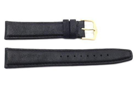Genuine Smooth Leather Black Watch Strap