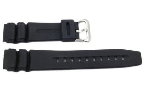 Black Rubber 20mm Watch Strap - B-P154-B