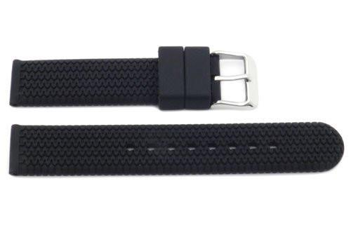 Black Rubber Zigzag Texture B-RB112 18mm Watch Strap