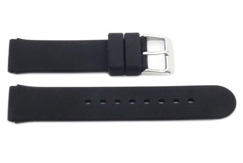 Black Smooth Rubber B-RB113 18mm Watch Band