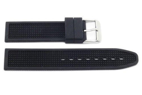Black Textured Rubber B-RB114 20mm Watch Strap