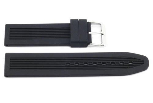 Black Textured Rubber B-RB115 20mm Watch Strap