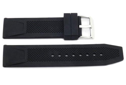 Black Textured Rubber B-RB117 22mm Watch Strap