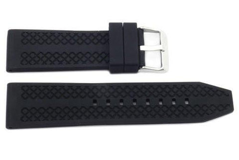 Black Diamond Textured Rubber B-RB118 24mm Watch Strap