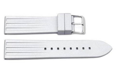 Silver Tapered Rubber B-RBL20 22mm Watch Strap