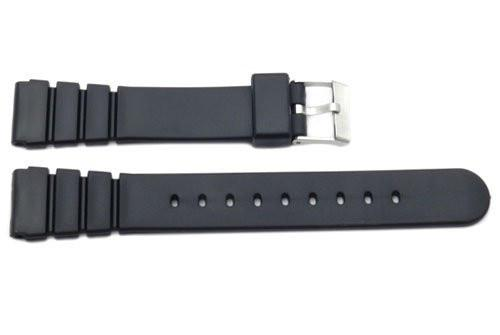 Black Smooth Rubber Casio Style 18mm Watch Strap