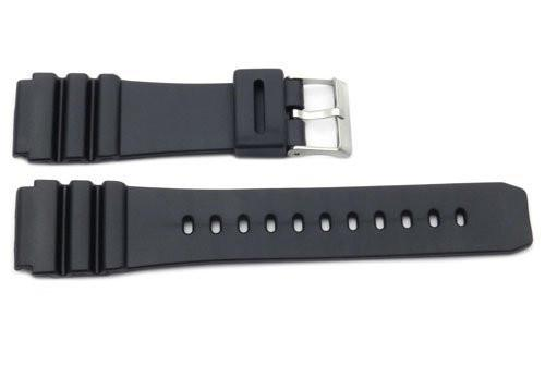 Black Smooth Rubber Casio Style 22mm Watch Strap