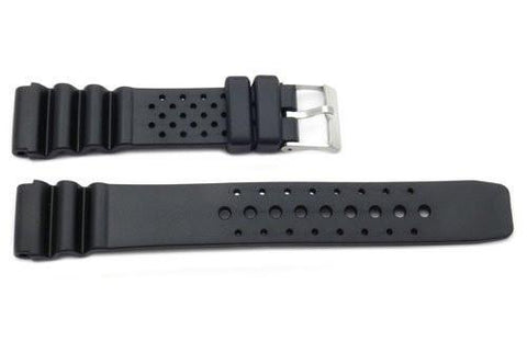 Black Smooth Rubber Casio Style Watch Strap