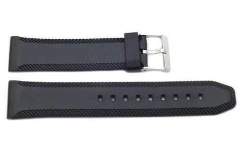 Black Rubber Cut Edges Texture 22mm Watch Strap