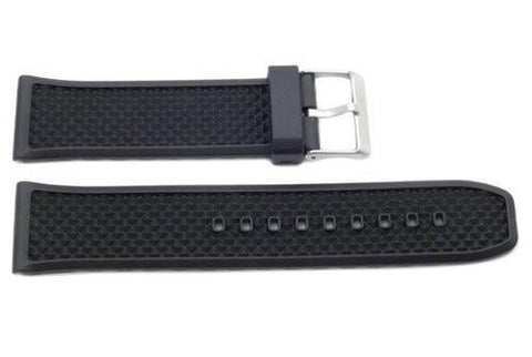 Black Rubber Diamond Texture Watch Strap