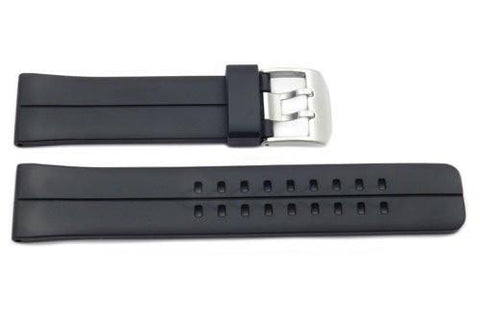 Black Rubber Casio Style Dual Prong Watch Strap