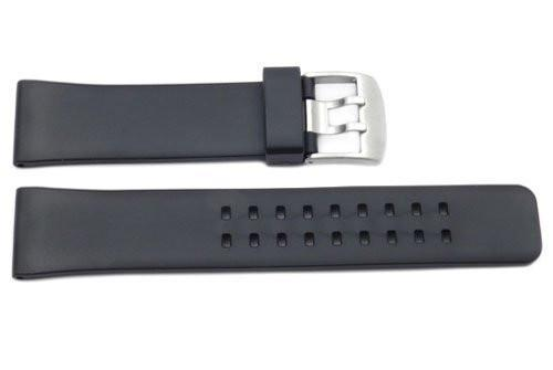 Black Smooth Rubber Dual Prong 24mm Watch Band