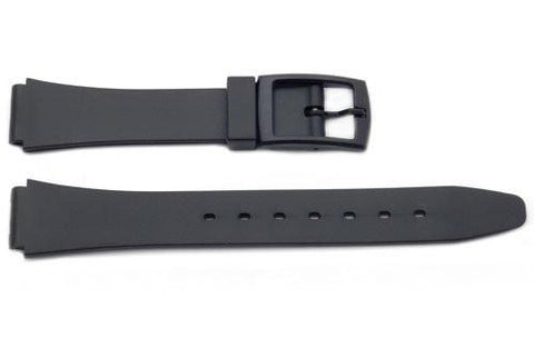 Black Smooth Rubber Casio Style 13mm Watch Band