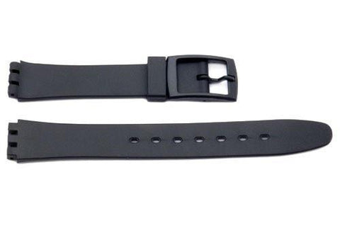 Black Smooth Rubber Casio Style 14mm Watch Strap