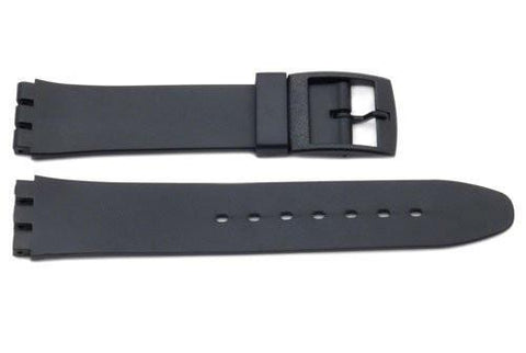 Black Smooth Rubber Casio Style 17mm Watch Strap