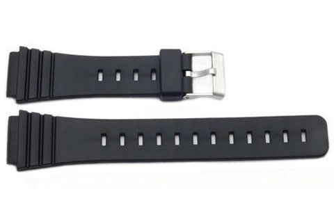 Black Smooth Rubber Casio Style 18mm Watch Band