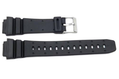 Black Rubber Casio Style18mm Watch Strap