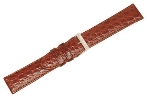 Swiss Army Officer Genuine Brown Textured Leather Crocodile Grain 19mm Watch Band