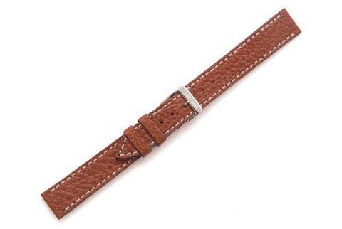 Swiss Army Officer's Ratchet Genuine Brown Textured Leather 15mm Watch Strap