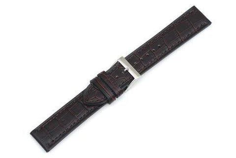 Swiss Army Alliance Genuine Textured Leather Dark Brown Alligator Grain 20mm Watch Band