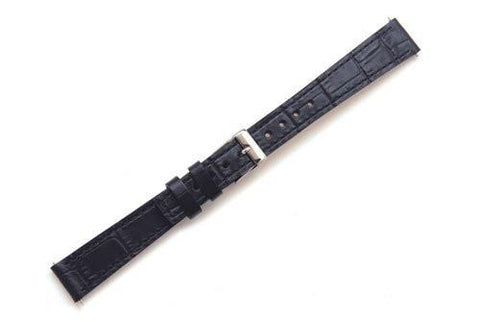Swiss Army Vivante Genuine Textured Leather Black Alligator Grain 15mm Watch Band