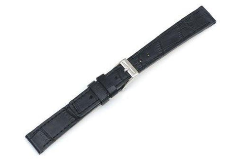 Swiss Army Vivante Genuine Textured Leather Black Alligator Grain 14mm Watch Strap