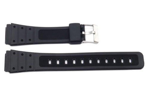 Black Rubber B-Y049 19mm Watch Strap