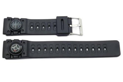 Black Compass Embedded Rubber 20mm Watch Band