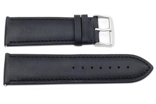 Genuine Smooth Black Leather Extra Wide 26mm Watch Strap