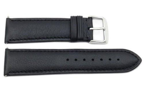 Genuine Smooth Black Leather Wide 24mm Watch Strap