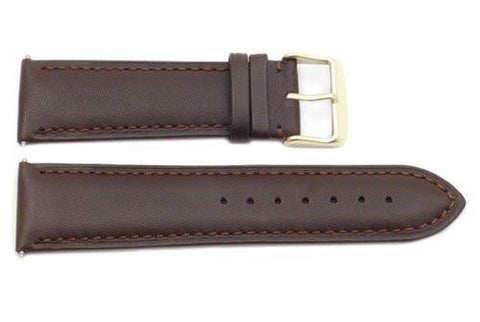 Genuine Smooth Brown Leather Wide 24mm Watch Strap