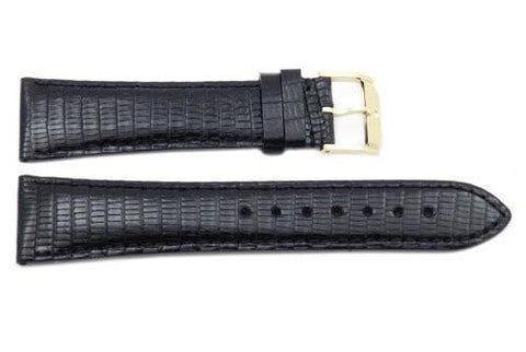 Movado Genuine Black Lizard Leather 22mm Watch Strap