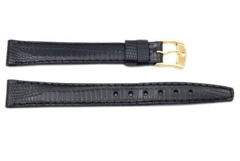 Movado Black Alligator Grain Textured Calfskin Cobranil 12.5mm Watch Strap