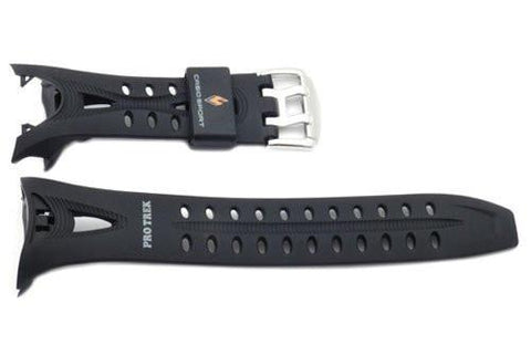 Genuine Casio Protrek Tough Solar Sport Black Resin 19/12mm Watch Strap- 10235342