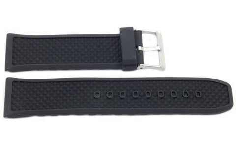 Black Textured Rubber P-24S 24mm Watch Strap
