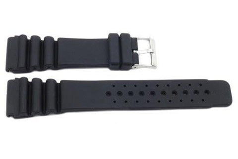 Black Smooth Rubber P-24DOTS 24mm Watch Strap