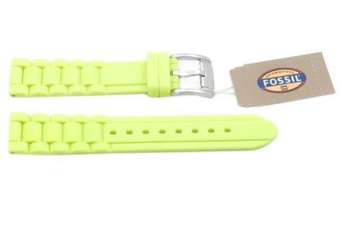 Fossil Neon Yellow Silicone Link Style 18mm Watch Strap