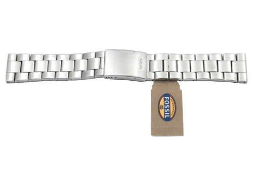 Fossil Silver Tone Stainless Steel 24mm Push Button Clasp Watch Bracelet