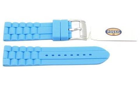 Fossil Light Blue Silicone Link Style 24mm Watch Strap